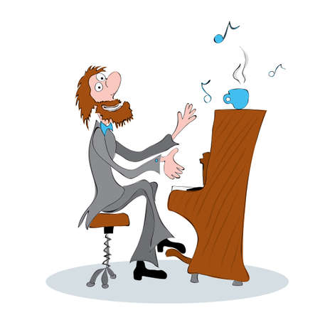 Mustached bearded musician with blue cup playing the piano / warming funny ringtones