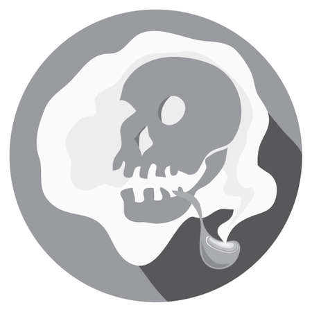 Vector skull picture with smoking pipe smoking around final sentence Illustration