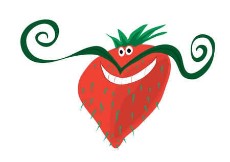 mustached: Vector cheerful mustachioed strawberry with light bristles  red berry with mood