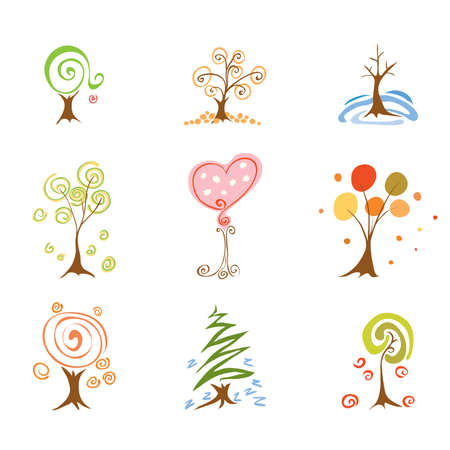 elysium: Set of abstract trees at different times of year Spring Summer Autumn Winter Illustration