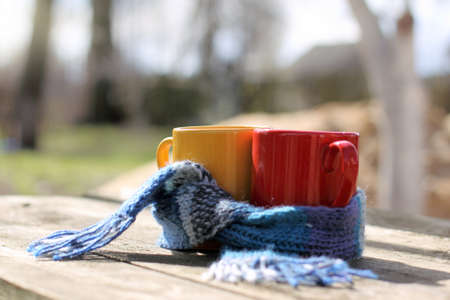 Mugs tied together warming scarf on the background of the landscape in the garden  warm drinks for the spring mood