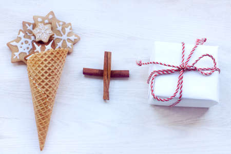 waffle cone full of baked goods and holiday gift  Christmas holiday formula