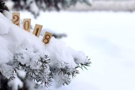 新年の冬の雰囲気 2018 の到来を示す木製の数値で飾られたクリスマス ツリーの雪に覆われました。 写真素材