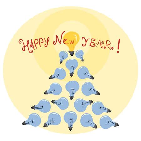 Festive Christmas tree of light bulbs  Creative idea for the new year