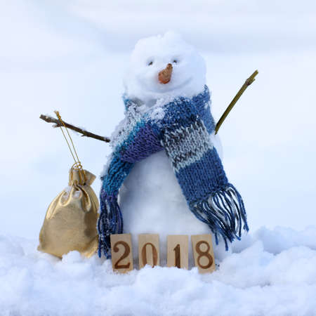 smiling Christmas snowman in scarf with gift  good mood in winter holidays