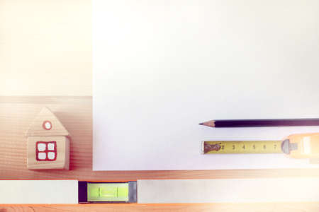 flat layout with important building tools top view  planning for an individual house