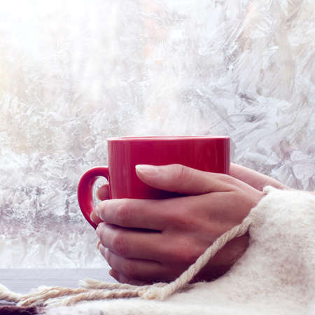 hot red mug in the hands wrapped in a rug on the background of a frozen window  warming mood in the winter Stock Photo