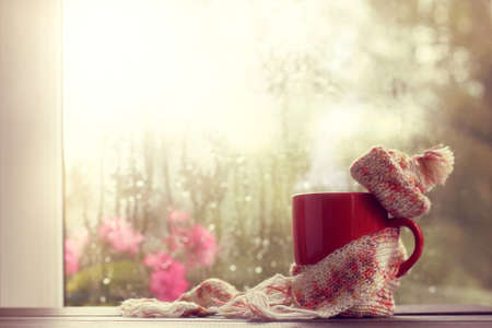 hot red mug in scarf and hat on the background  window after the rain  time to chill out