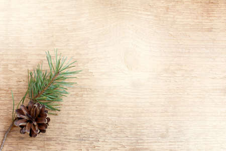 pine twig and cone on a light wooden surface top view  decoration for winter holidays Stock Photo