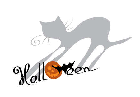 vector cheerful orange pumpkins and silhouette of a bat with the letters cast a shadow in the shape of a cat  imagination for  halloween Illustration