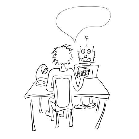 vector illustration with a robot and a man at the same table  fierce competition for hiring