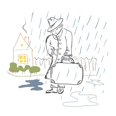 Sad man with suitcase gets wet in the rain on a background of a cozy house with a warm light in the window