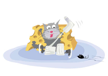 Vector cat with stick protects the gate of cheese, hockey with mouse on ice