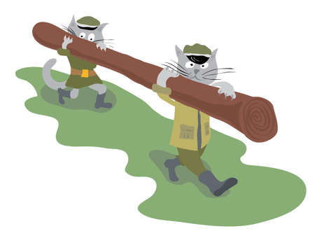 a log for sharpening claws is carried by two cats  Illustration