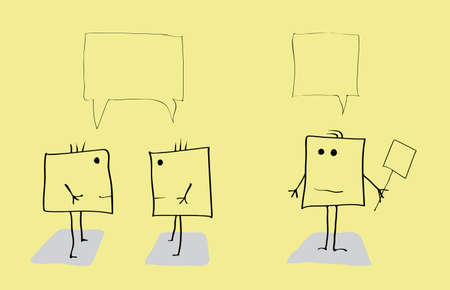 three vector fictional characters resembling squares participate in conversation / holding debates