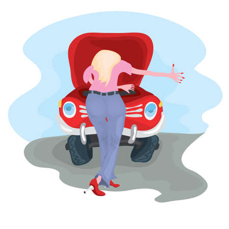 Girl in tight jeans inspects the engine under the open hood of the red car stop on the way