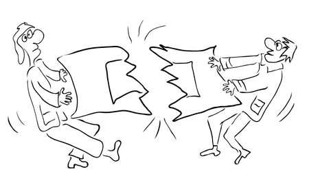 Twee managers scheurden deken in twee delen / effecten van agressieve concurrentie