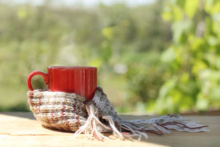 red cup with a hot drink wrapped in scarf, stands on table in the garden terrace  cozy rest on a sunny day