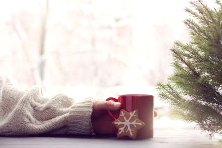 hand in a sweater keeps a mug on a table with cookies and a Christmas tree / warming the mood of a winter weekend