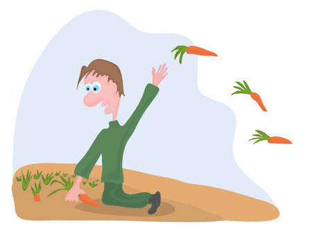 diligent gardener throws an orange carrot in his hands against the background of the field Illustration