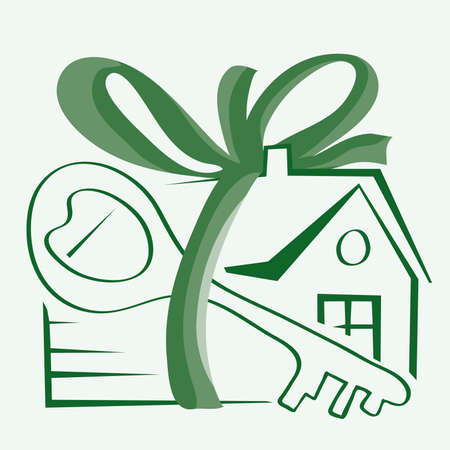 vector house and key tied with a ribbon with a bow  gift promotion