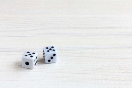 pair of dice fell with two fives / successful combination 版權商用圖片
