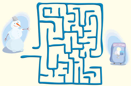 Ilustración de vector de muñeco de nieve de pie en el laberinto de entrada, detrás del cual se encuentra la máquina de helados. ayuda del juego a encontrar una salida