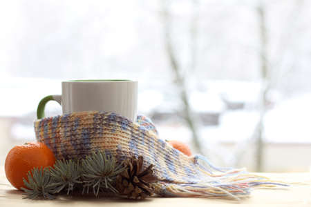 cup wearing scarf with tangerine and spruce twigs on the background of the window in the winter / warming homely comfort Banque d'images