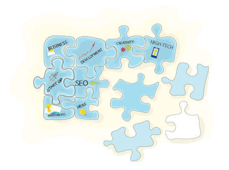 vector puzzle from different elements  integrated business promotion