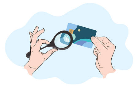 vector illustration of hands with a payment card and a magnifying glass / attentive solvency check