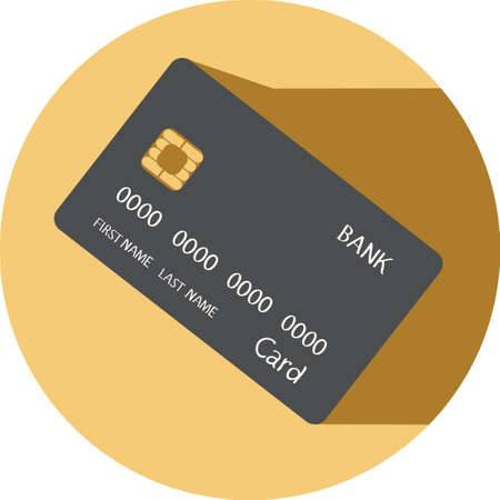 vector icon with bank card concept with chip
