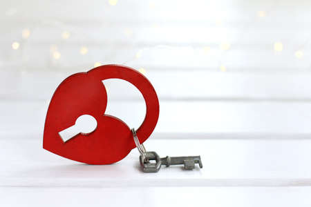 heart keyed on the background of the blurred lights / keychain valentine