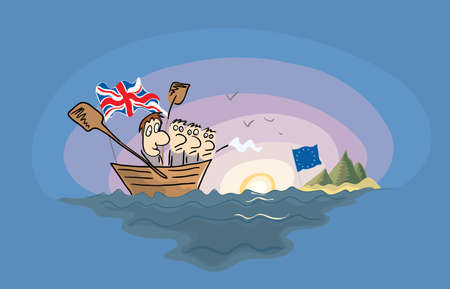 vector illustration Brexit with boat full of people with a Great Britain flag sailing from the coast of European union / historical and political event