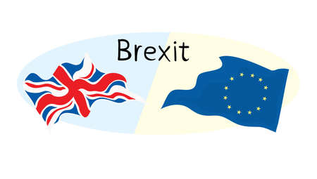 vector illustration Brexit inscription with Great Britain and European union flags / divorce on opposite sides
