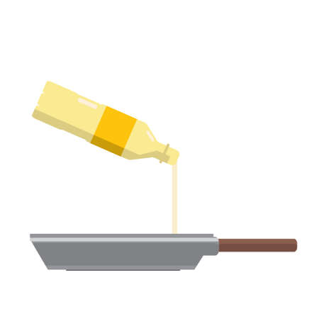 vector flat icon with frying oil pouring out of the bottle onto the pan  cooking ingredient