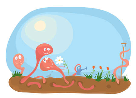 vector illustration smiling earthworms rejoice that spring has come / fun gardening