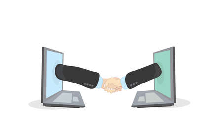 virtual handshake of two businessmen over a computer network using laptops  successful deal