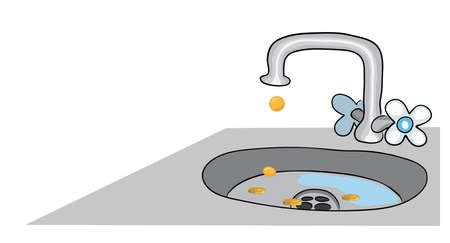 coins dripping into the sink from a poorly closed water tap . concept of cash leakage Illustration