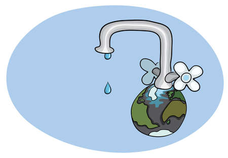 drops of water flowing from a poorly closed large crane installed on the planet earth. world water day Ilustrace