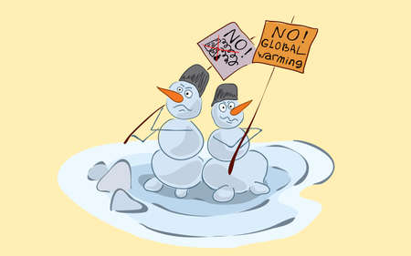 dissatisfied melting snowmen hold a picket with posters against global warming and environmental pollution. peaceful demonstration