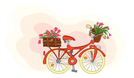 Red bike with basket and trunk full of flowers. spring trip with tulips