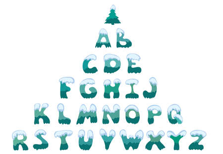 large snow-covered capital letters of the English alphabet. winter font with a Christmas tree