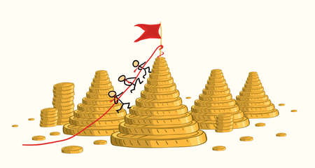 The business team together is storming the height marked with a flag against the background of a landscape of mountains of gold coins. winning the competition increases revenue