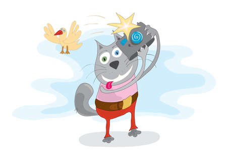 funny cat with a camera Ilustracja
