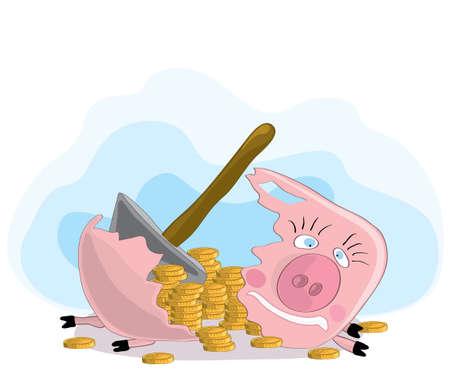 gold coins spilled out of a piggy bank broken with a hammer. cash savings