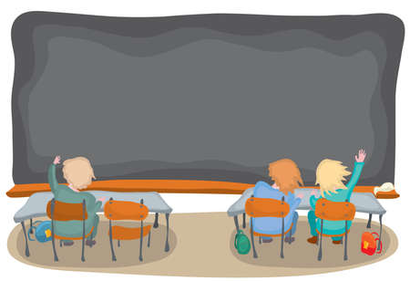 students are sitting at their desks against a clean blackboard. back to school on the day of knowledge