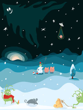 mouse, cheese, pigs, a snowman and funny green aliens in winter. New Year adventure on a small planet earth