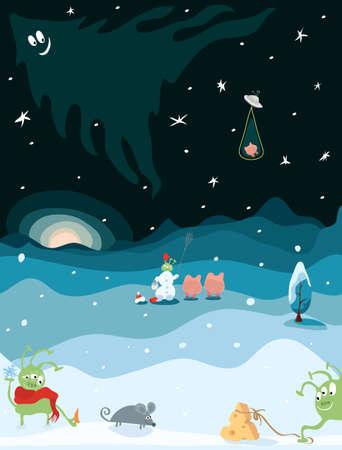 ratón, queso, cerdos, un muñeco de nieve y extraterrestres verdes divertidos en invierno. Aventura de año nuevo en un pequeño planeta tierra. Ilustración de vector