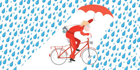 man with an umbrella and camera rides bicycle in the rain