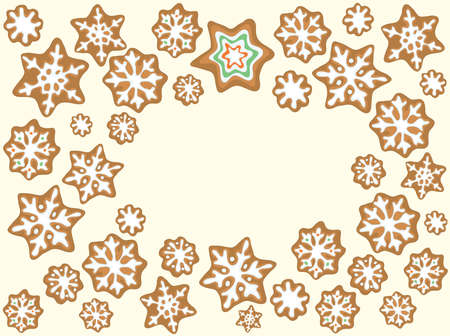 vector glazed cookies in the shape of stars and snowflakes top view. holiday baking
